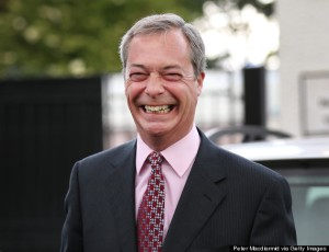 FARAGE: One of the only leaders with something to smile about
