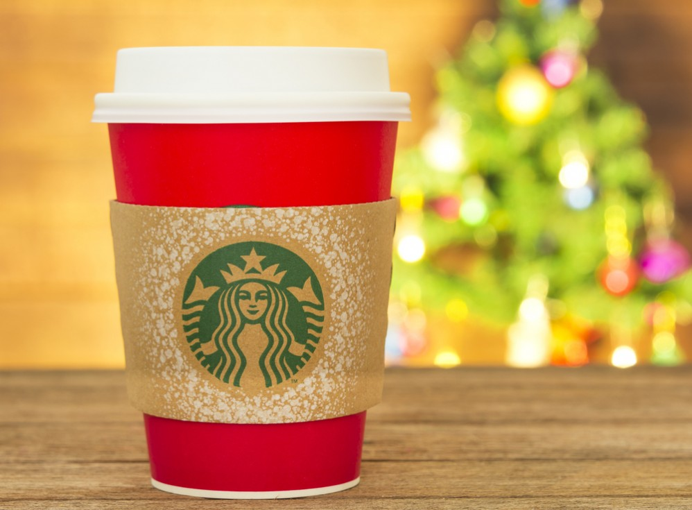 Starbucks christmas mug is just plain red