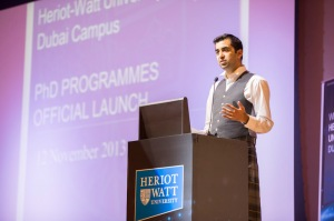 Humza Yousaf speaking at Heriot Watt University PhD programme launch