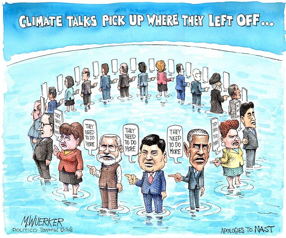 Cartoon of climate talks in Paris, basically pointing the finger of blame to the nearest nation