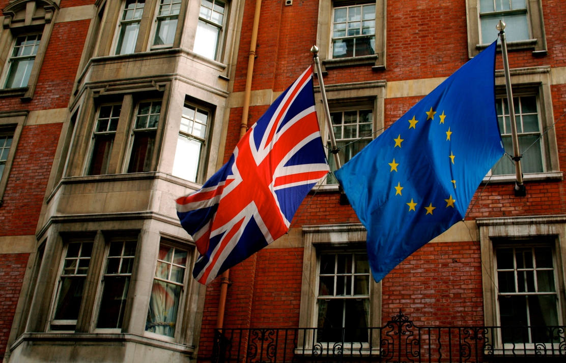 The British and European Union flags