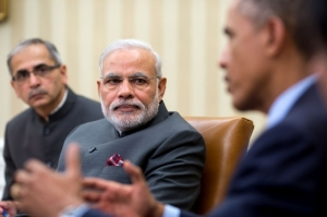 Indian PM Narendra Modi speaking with Obama