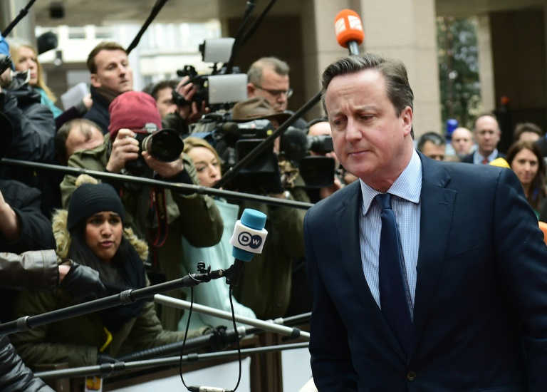 Cameron entering the EU HQ in Brussels.